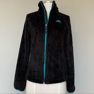 The North Face Osito 2 Black and Teal Fleece Sherpa Zip Up Jacket, XS